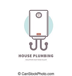 House plumbing commercial poster with gas water heater