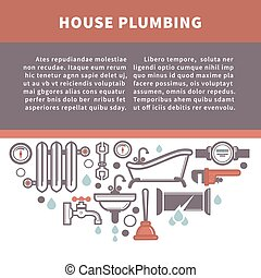 House plumbing information board vector illustration. Repairing service