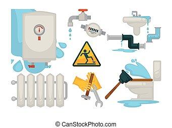 House plumbing plumber repair tools and water sewerage...