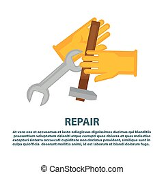 House plumbing plumber repair tools vector icons for water...