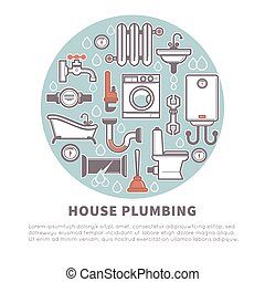 House plumbing round banner for promotion vector illustration