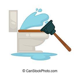 House plumbing toilet leakage or clogging plumber repair ...