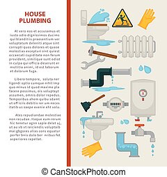 House plumbing vector information poster or infographics...