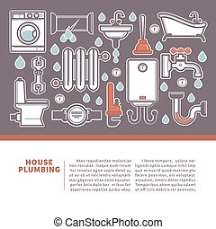 House plumbing web banner for promotion repair services....