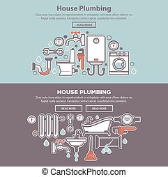 House plumbing web poster with tubes and bath equipments