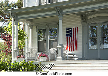 House porch on 4th of july