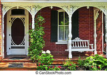 House porch - Beautiful porch of victorian house decorated...