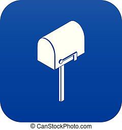 House postbox icon blue vector