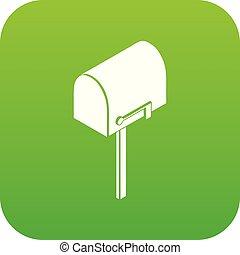 House postbox icon green vector