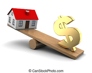 house price concept - abstract 3d illustration of house and...