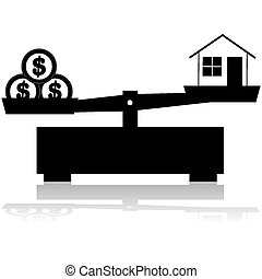 House price - Concept illustration showing a scale balancing...