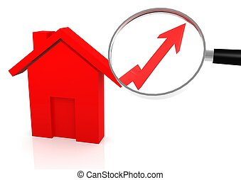 House price go up - Rendered artwork with white background
