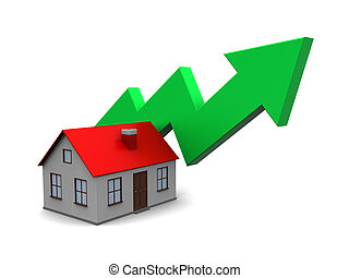 house price rising - abstract 3d illustration of house with...