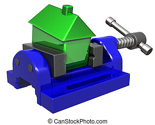 Isolated illustration of a house being squeezed in a vice