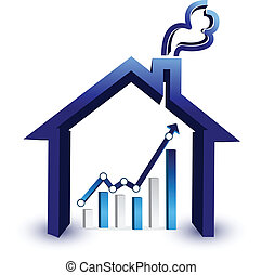 House prices graph illustration design isolated over a white...