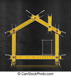 House project concept. Yellow wooden meter on blackboard with drawing of house
