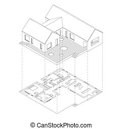 House projection with plan