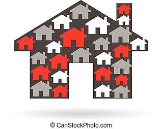 House properties logo. Vector graphic illustration design