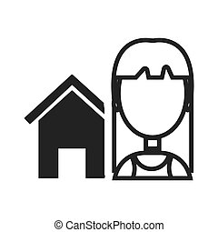 house property icon - house property shape with avatar woman...
