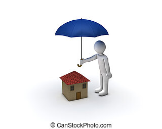 House Protection - 3d Person Protecting House with Umbrella