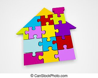 House Puzzle - 3d render illustration of colorful house...