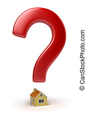 house question - Red sign on a question over the house. 3d ...