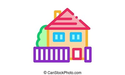 house real estate Icon Animation. color house real estate animated icon on white background