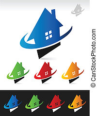 House Real Estate Swoosh Icons