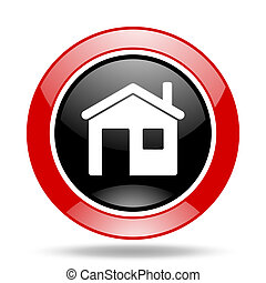 house red and black web glossy round icon