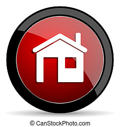 house red circle glossy web icon on white background - set440