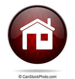 house red glossy web icon on white background
