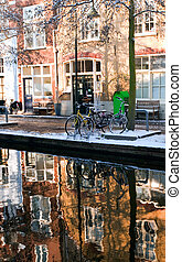 House reflection in the canal of Delft