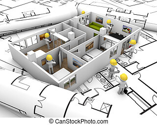 house refurbishing concept: house mock-up with workers over...