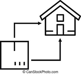 House relocation icon, outline style - House relocation icon...