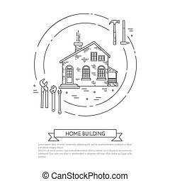 House remodel horizontal banner with building tools Line art