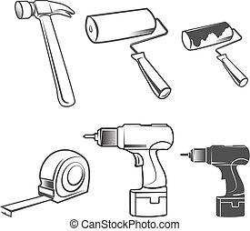 House remodel instruments logo elements - House remodel: set...
