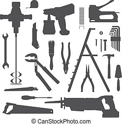 house remodel instruments silhouett - vector various house...