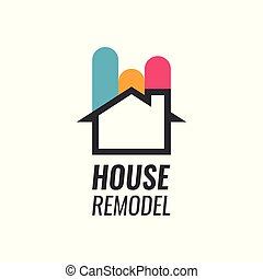 House Remodel - Vector Logo with House silhouette and...