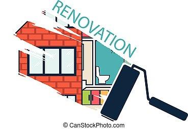 .house, remodeler, conception, .vector, rénovation