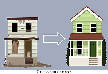 House remodeling project - Old, rundown house turned into a...