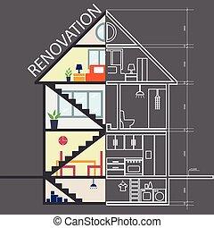 .house, remodeling, tervezés, .vector, helyreállítás