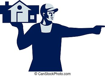 House Remover Carrying House Retro - Illustration of a house...