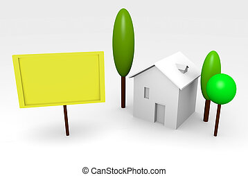 House rendering with billboard