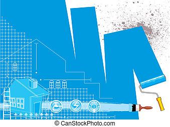 House Renovation - House renovation design, vector...
