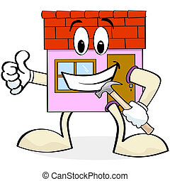 House renovation - Cartoon illustration showing a house with...