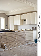 House renovation. New modern home construction background