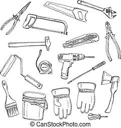 House renovation tools set black outline