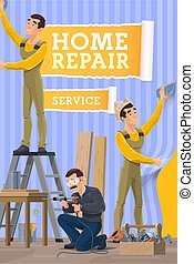 Workers gluing a wallpapers, installing a baseboard in room, painting a wall and assembling furniture with work tools. Home repair, construction, renovation and remodeling service, vector posters.
