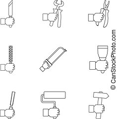 House repair instrument icon set, outline style