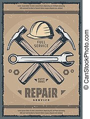 House repair service retro banner of old work tool